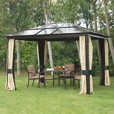 Luxus Alu Pavillon Partyzelt Gartenzelt mit lichtdurchlässig Dach 3x3,6m Schwarz