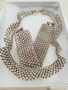 """Hand Woven 16"""" Necklace Set With 7.5"""" Cuff Bracelet - Glass Seed Beads Choker"""