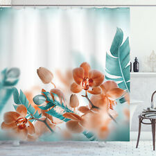 Tropical Orchid Blossoms Leaves Floral Themed Modern Print Shower Curtain Set