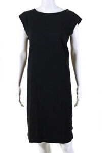 Helmut Lang Womens Sleeveless Boat Neck Shift Dress Black Size 10