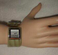 ROBERTO CAVALLI Green Resin Silver Tone Accent Cuff Bracelet Watch NEW