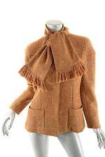 CHANEL Burnt Orange Woven Wool Blend Jacket w/Scarf WOW 2001A France 42/10