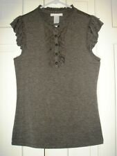 NWT DESIGN HISTORY COAL RUFFLE FRONT JERSEY TOP Medium retail  $94