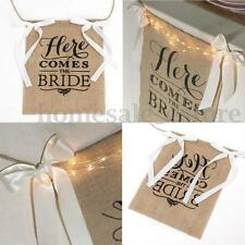 """Here Comes The Bride"" Burlap Bunting Banner Sign Rustic Wedding Party Boy Decor"