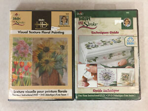 Folk Art One Stroke DVDs Visual Texture Floral Painting + Techniques Guide NEW