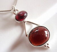 Garnet Double Gem Oval 925 Sterling Silver Necklace New Imported from India