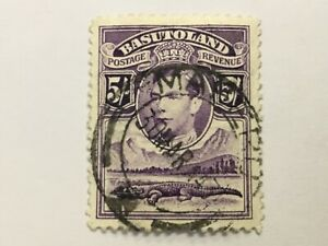 old stamp  BASUTOLAND  5/   KGVI