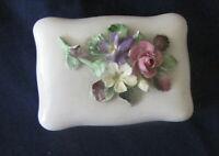 232#C--Box Trinket Bone China Staffordshire England Flowers Relief Vintage
