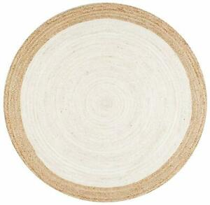 Rug Cotton Area Braided For Home Decorative White Color Floor Rag Rug 6 X 6 Feet