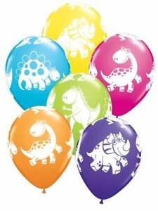 10 X Dinosaur Cute Dino Latex Balloons Print Assorted Birthday Party BAL9906