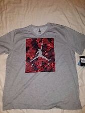 JORDAN RETRO DRI-FIT T-SHIRT SIZE DOUBLE EXTRA LARGE GRAY MAROON RED BLACK