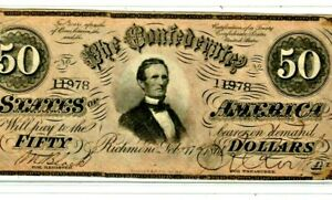 "$50 ""CONFEDERATE"" (SUPER CRISPY) 1800'S $50 ""CONFEDERATE"" (SUPER CRISPY) NICE!!!"