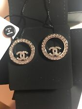 New Auth CHANEL 2017 Large Crystal CC Logo Circle Earrings -Gorgeous!