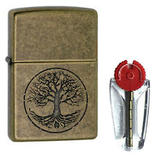 Tree of Life Zippo Lighter in Antique Brass 29149 - FREE FLINTS & P&P