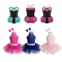Kids Girls Jazz Modern Dance Wear Sequined Ballet Leotard Dress Skating Costumes