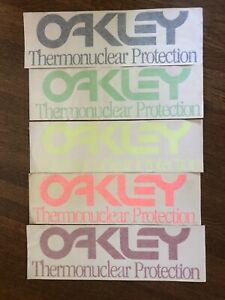"Vintage OAKLEY THERMONUCLEAR PROTECTION Die Cut Sticker Colors about 17"" x 5"""