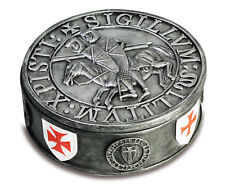 TEMPLAR COAT OF ARMS SHIELD FLAG  KNIGHT MEDIEVAL CRUSADER CROSS HISTORY BOX