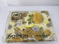 Vintage Lady Peoperell Twin Fitted Sheet Yellow Daisy Mums Floral Mod