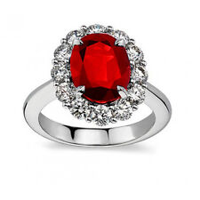 7.09 ct Oval Shape Ruby And Diamond Anniversary Ring