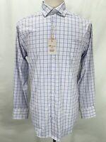 Peter Millar Summer Comfort Crown Sport Plaid Long Sleeve WHT Shirt Men's Medium