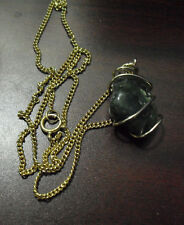 Vintage Green Polished Stone Pendant with Plated Gold Tone Necklace Look