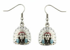 Ladies Indian Chief Headdress Bust Earrings Red White Blue Stainless Steel