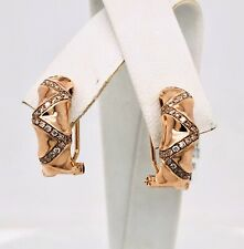 14K Solid Rose Gold 0.34 Ct Natural Diamond Huggie Earrings