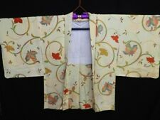 Vintage Japanese Ladies' Light Yellow 'Arabesques' Kimono Haori Eve Jacket 10-14