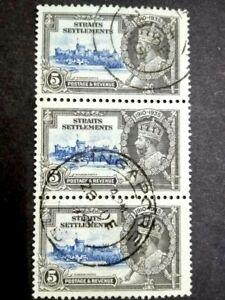 Straits Settlements 1935 Malaya Silver Jubilee 5c Block Of 3 Used