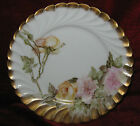"""1 - 8 1/2"""" Bernardaud & Co Limoges plate with pink and yellow roses (2014-058)"""