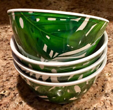 Tommy Bahama Tropical Palm Leaves Leaf Melamine Salad Soup Cereal Bowls Set of 4