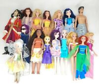 Large Lot of 16 Mattel Hasbro Disney Princess Dolls Aurora Elsa Belle Ariel +