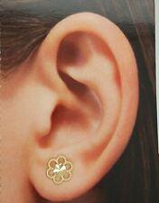 7 mm Flower Diamond Cut Stud Earrings 14k Yellow Gold 0.8 grams Push Back Women