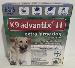 K9 Advantix II Flea Tick Prevention XL Dogs Dog Over 55 lbs 4 Pack