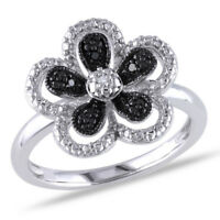 Beautiful 925 Silver Jewelry Black & White Sapphire Women Wedding Ring Size 6-10