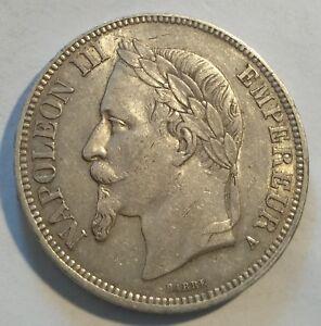 FRANCE / 1867A 5 Silver Francs Napoleon III !!