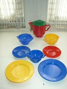 Vintage, Ideal 9-pc Multi-Colored Childs Tea Set