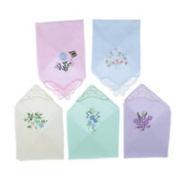 5pcs/set Womens Handkerchief Hankies Floral Embroidered Pocket Hanky GIFT