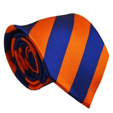 Shiny Blue Orange Stripe Hommes Cravate Business Mariage Bureau Fête Formelle Hommes Cravate