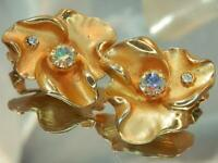 Nice Vintage 60's Larger Gold Tone AB Pink Rhinestone Flower Clip Earrings 794o0