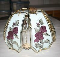 Vintage OK LIGHTING Lamp Shade 6 Glass Panels / Roses-Butterfly Pattern