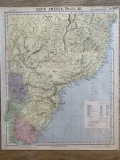 1889 SOUTH BRAZIL URUGUAY PARAGUAY ANTIQUE MAP BY LETTS, SON & Co. 131 YEARS OLD