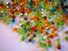 100 Austrian Crystal Glass Bicone Beads- Jewellery/Crafts - Autumn Mix - 4mm