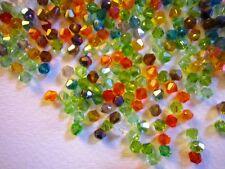 100 Austrian Crystal Glass Bicone Beads- Jewellery/Crafts - Autumn Mix - 4mm