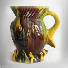 Vintage majolica stylized fish form pitcher