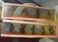 Lot of 2 Early 1900s Magic Lantern Cartoon Glass Slides Children and Animals
