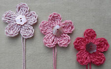 x6 Crochet Flowers appliques PINKS Mother Pearl button embellishment Toppers