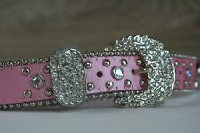 Nocona Girls' Rhinestones & Horseshoes Pink Leather Belt - N4418630 - Size 22