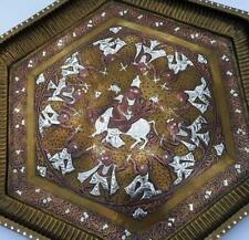 """18TH CENTURY TANJORE / SOUTH INDIAN SILVER & COPPER OVERLAID TRAY 19"""""""