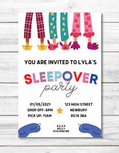 10 x PERSONALISED invites SLEEPOVER invitations slumber